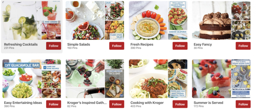 Example of a properly curated Pinterest board from Kroger